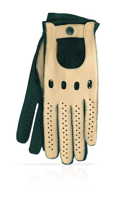 gant femme auto non double beige et vert
