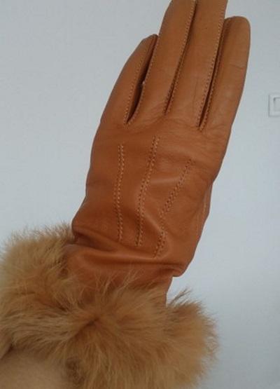 gant femme camel bord lapin