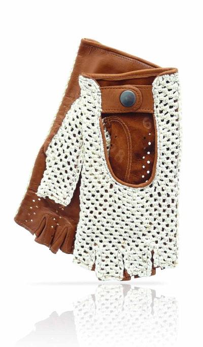 gant femme mitaine crochet et cuir beige