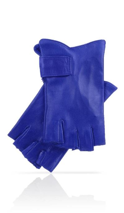 gant mitaine femme bleu electrique